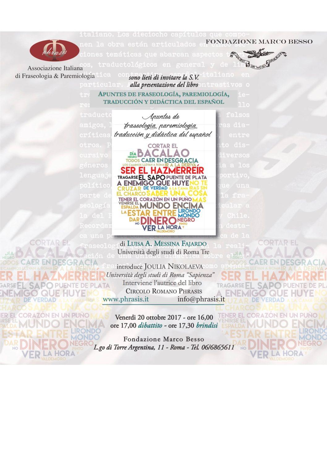 Circolo romano Phrasis-Presentazione del libro Apuntes de fraseología, paremiología, traducción y didáctica del española cura di Luisa Messina