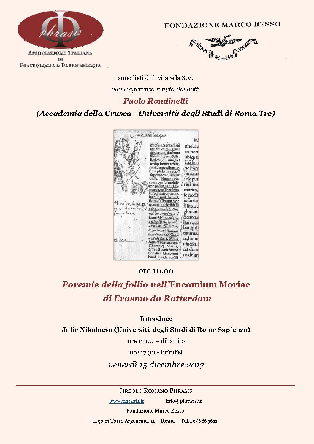 Circolo Romano Phrasis: Conferenza di Paolo Rondinelli (Accademia della Crusca-Università Roma Tre)